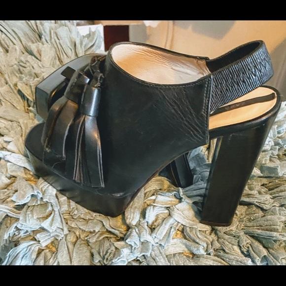 Zara chunky heel platform tassel shoe.
